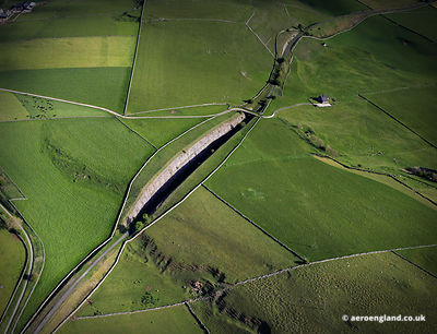 aerial photograph of the Tissington Trail in the Peak District Derbyshire England UK.