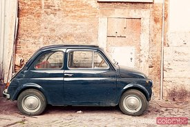 Old vintage 500 car in Rome, Italy