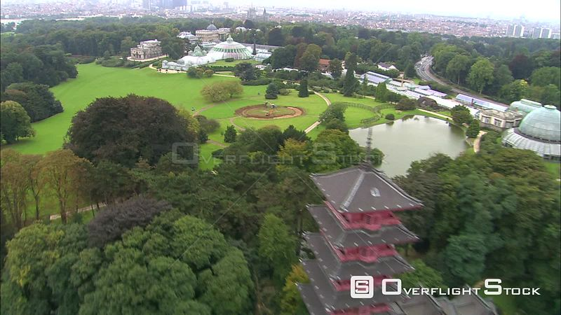 Over pagoda to orbit gardens and Royal Palace of Laeken in Brussels