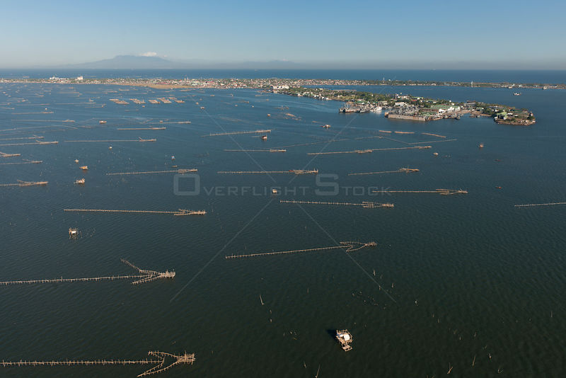 Aerial view of fish traps in highly populated Manila Bay, Philippines, April 2010