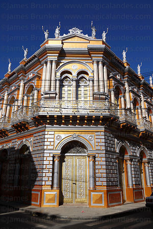 Main entrance facade of the Casa Dorada / Golden Palace , Tarija , Bolivia
