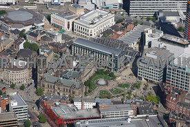Sheffield aerial photograph of the Town Hall and the Peace Gardens and the Winter Gardens in the City centre