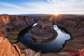 Horseshoe bend on the Colorado river at sunset, Arizona, USA