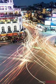View of Hanoi streets at dusk, Vietnam