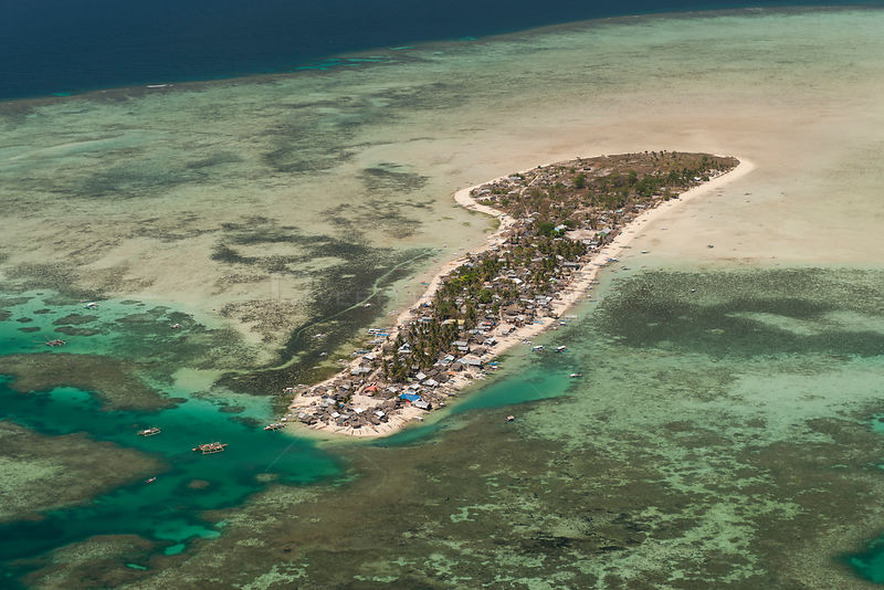 Aerial view of Green Island, a tiny island inhabited with thousands of people, Palawan, Philippines, April 2010