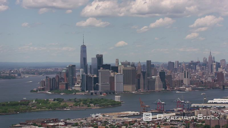 New York City, New York Aerial shot of lower Manhattan and Governors Island.  Shot with Cineflex and RED EpicW Helium.