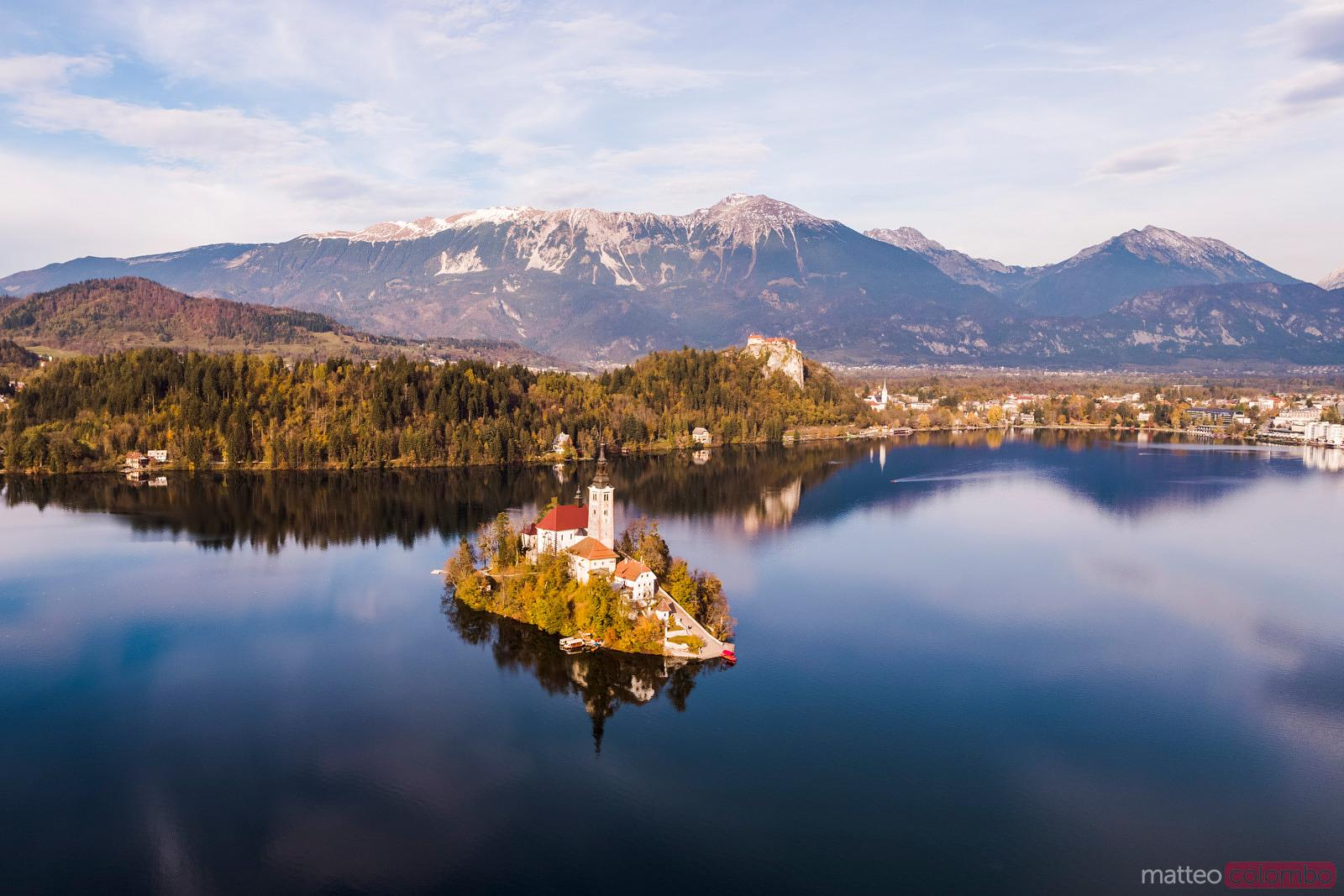 Aerial view of Bled lake and island in autumn, Slovenia