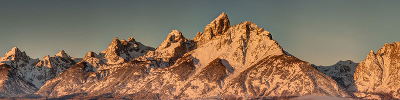 Alpenglow of Teton Range.  Grand Tetons National Park, Wyoming