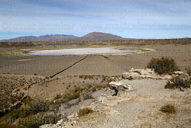 Jayu Quta, a wide volcanic crater or maar with a shallow salt lake and fields, Jayukota, Oruro Department, Bolivia