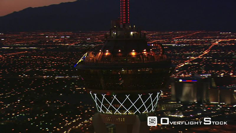 Orbiting the Stratosphere's observation deck high above nighttime Las Vegas.
