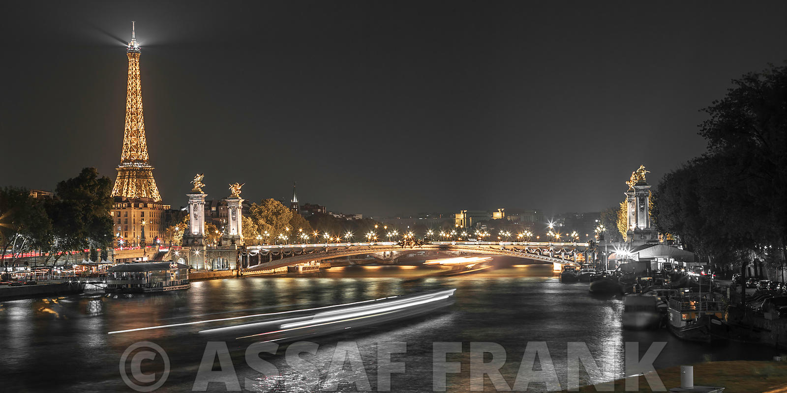 View of the river Seine with the Pont Alexandre III and Eiffel Tower in the background during night, Paris, France