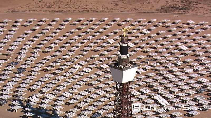 Slow flight past solar tower
