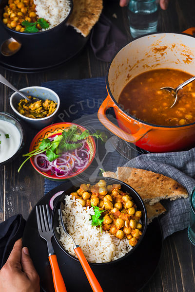 Chickpeas Curry served with Rice and Naan Bread