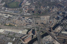 Manchester Western Gateway crossing point of the river Irwell and the new Ordsall Chord Rail Link and the new developments taking place at Middlewood Lock area of Salford Central