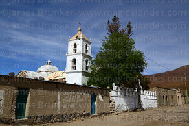 Church tower and main square, Jirira, Oruro Department, Bolivia