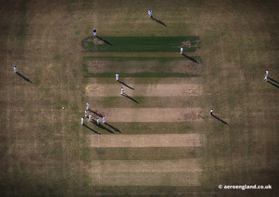 aerial photograph of Hethersett and Tas Valley Cricket Club match at Flordon .Norwich, Norfolk England UK.