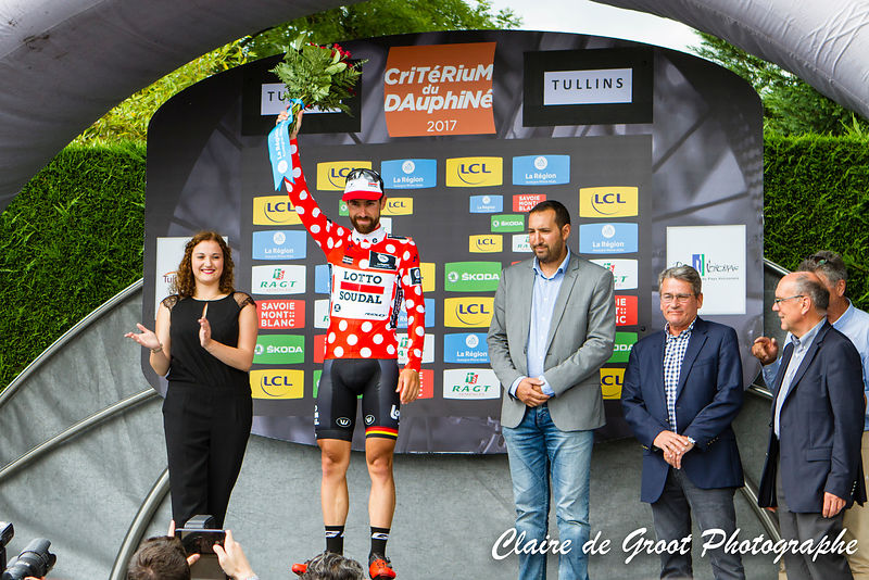 Thomas de Gendt, wearer of the polka dot jersey after the 3rd stage