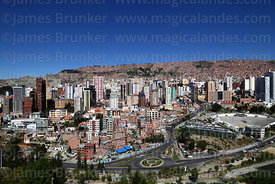 View of high rise buildings in Sopocachi district and Avenida del Poeta, La Paz, Bolivia