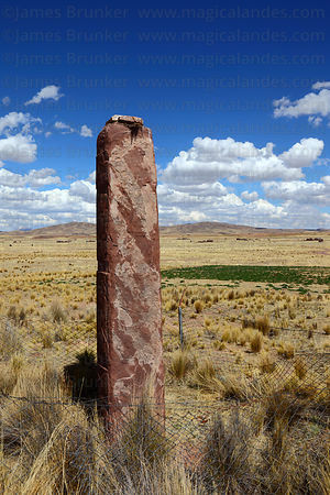 Monolith at Konko Wankani site near Jesús de Machaca, La Paz Department, Bolivia