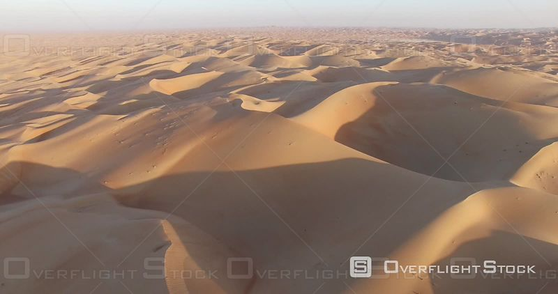 Sunset on the Desert Dunes, Filmed by Drone, United Arab Emirates