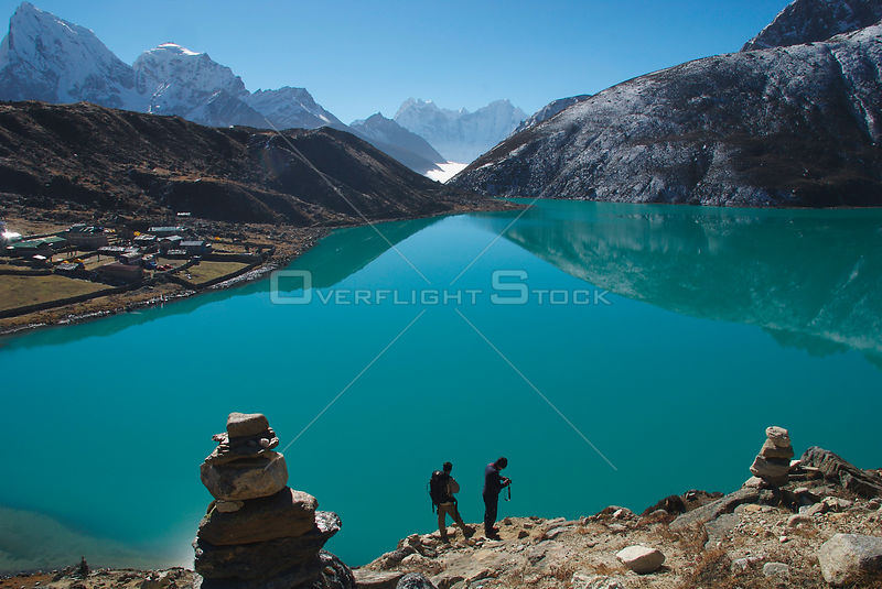 NEPAL Gokyo Peak -- Trekkers take in the view of the third lake of the spectacular Gokyo valley.