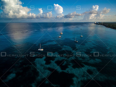 Sailing Boats on the Crystal Clear water. Cozumel Mexico