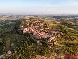 Aerial sunrise over Pienza, Val d'Orcia, Tuscany, Italy