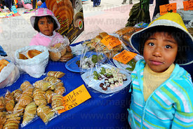 Stall selling biscuits and sweets made from coca leaf flour at trade fair promoting alternative products made from coca leaves , La Paz , Bolivia