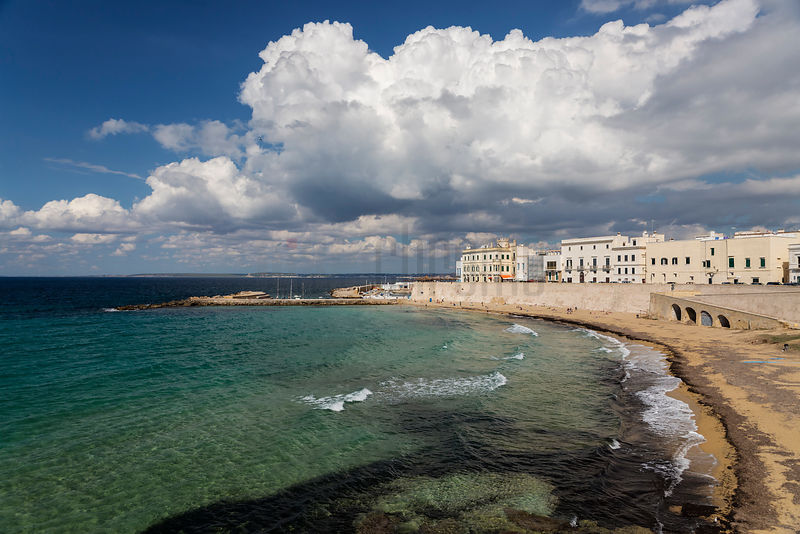 Heavy Cumulus Clouds Above the Beach at the Old Town of Gallipoli