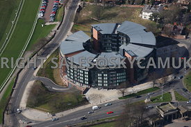 Chester aerial view of Abode hotel and Cheshire West and East Chester Council Offices