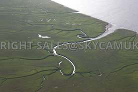 River Mersey aerial photograph view of the mud flats Stanlow Point  River Mersey