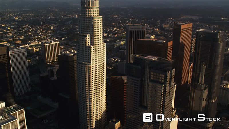 Close approach and orbit of US Bank Building, Los Angeles. Shot in October