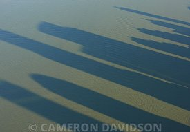 Aerial Photograph of Skyscraper Shadows on the Hudson River in New York city.