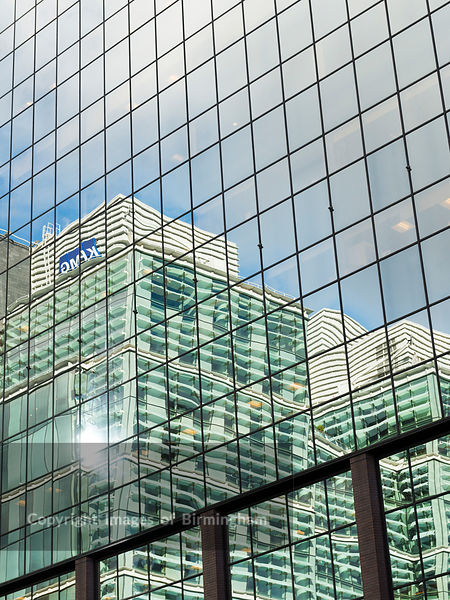 Snowhill offices reflecting in a window, Birmingham, England