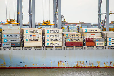 Maersk Shipping Containers on a ship at the London Gateway Port