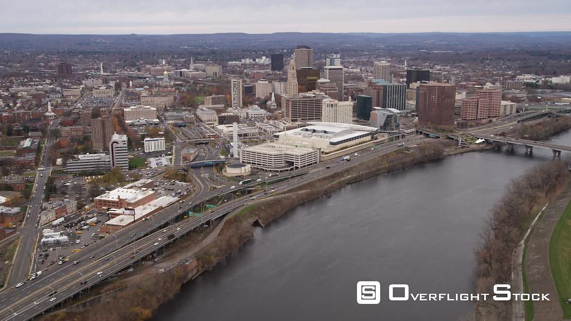 Aerial approach to Hartford, CT from Connecticut River and Founder's Bridge.