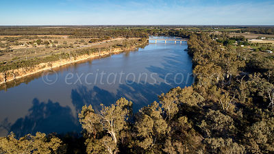 Aerial Murray River and Abbotsford Bridge, Curlwaa, NSW, Australia.