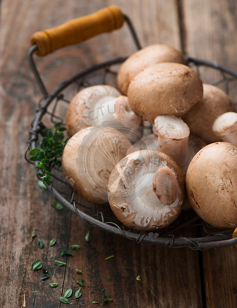 Fresh champignon mushrooms