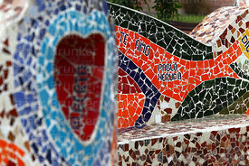 Detail of ceramic mosaic wall with Pablo Neruda quote in Parque del Amor / Park of Love, Miraflores, Lima, Peru