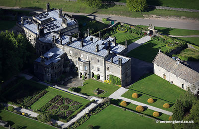 aerial photographs of Tissington Hall Derbyshire England UK