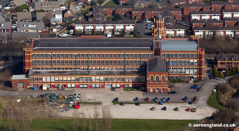 aerial photograph of Mavis Mill Coppull Lancashire uk, built in 1909