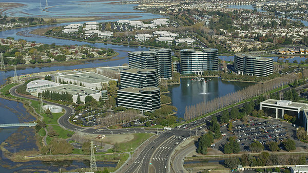 Aerial view of ORACLE headquarters in San Mateo, Silicon Valley, California, USA