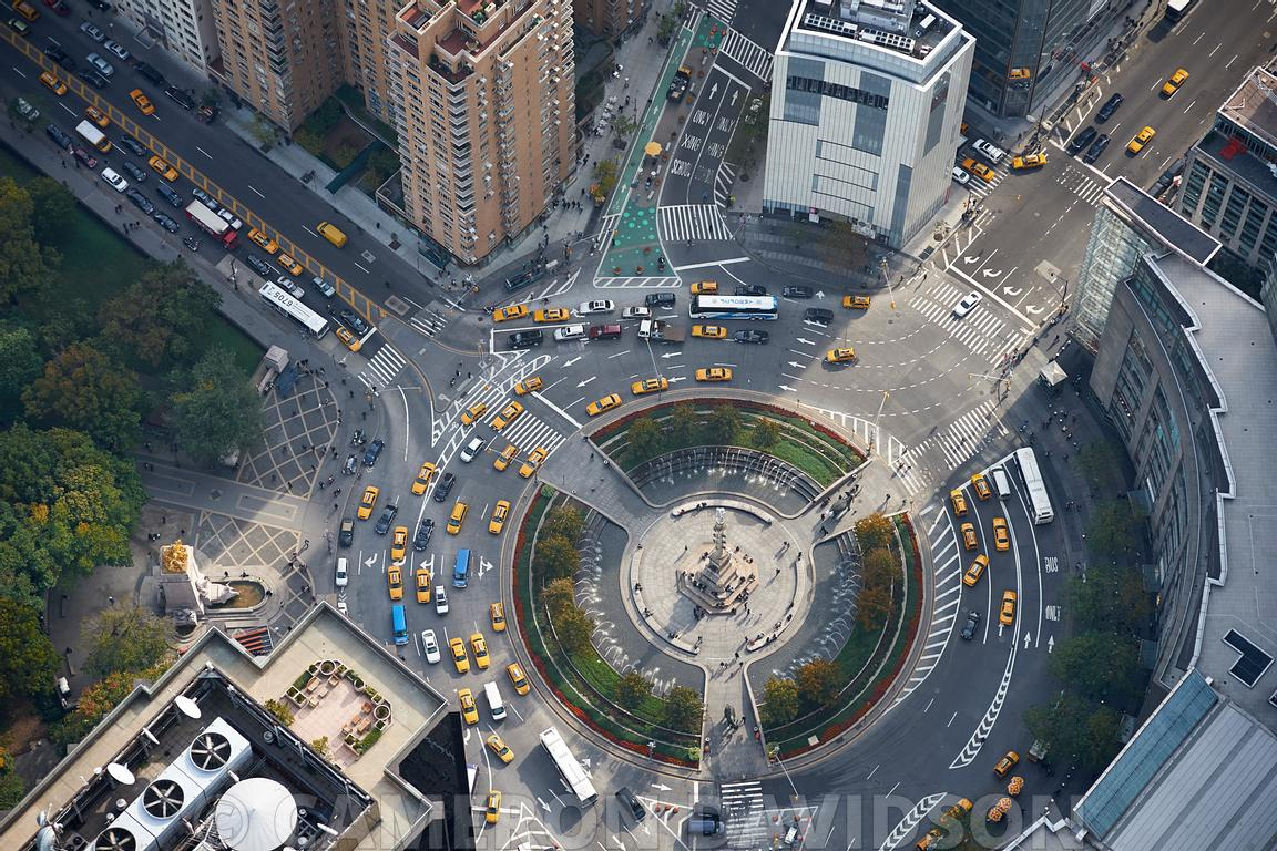 Aerial photograph of Columbus Circle in New York City.