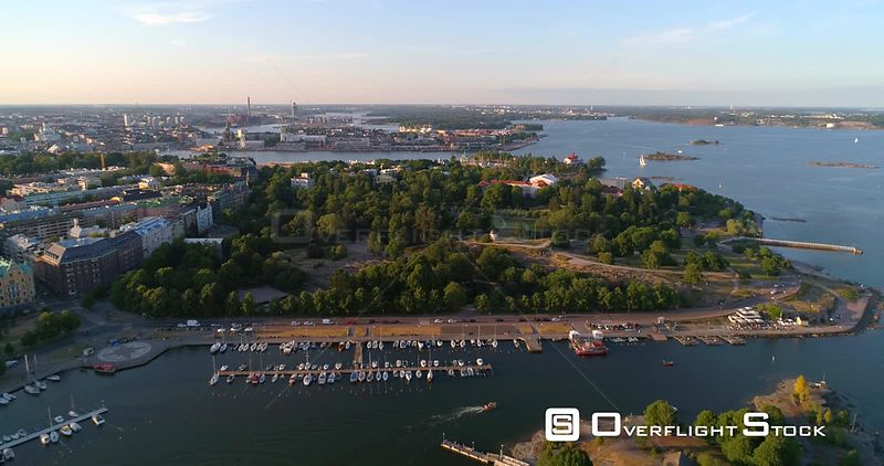 City park, aerial view away from Kaivopuisto park, on a sunny summer evening dusk, in Helsinki, Uusimaa, Finland