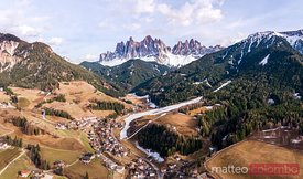 Aerial view of Funes valley, Dolomites, Italy