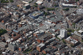 Preston aerial photograph looking down Fishergate towards St Georges Shopping centre and the retail centre of Preston