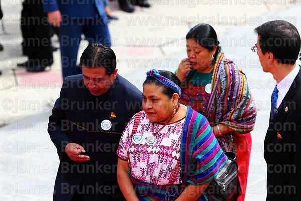 Guatemalan indigenous rights activist Rigoberta Menchú speaks with the Bolivian foerign minister David Choquehuanca during official events for Dia del Mar / Day of the Sea, La Paz, Bolivia