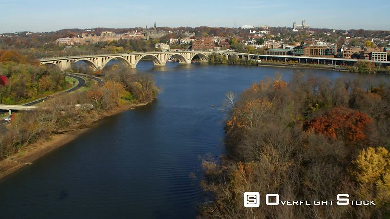 Flying Above the Potomac River Toward and Over Key Bridge Approaching Georgetown University.