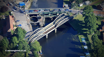 Grand Sluice and Railway bridge over the River Witham  at Boston, Linconshire aerial photograph