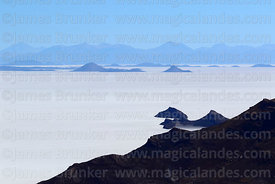 View of Salar de Uyuni and islands from Tunupa volcano near Tahua, Bolivia